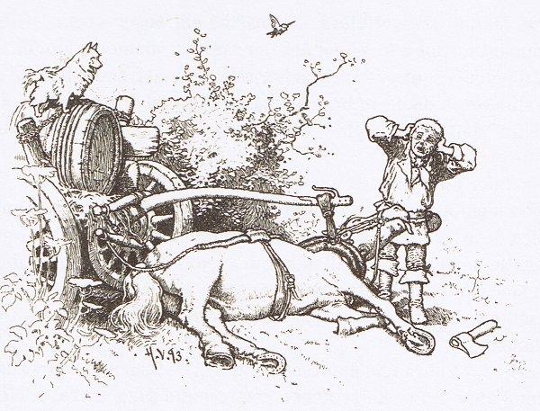 Illustration von Hermann Vogel zu dem Märchen Der Hund und der Sperling von den Brüdern Grimm