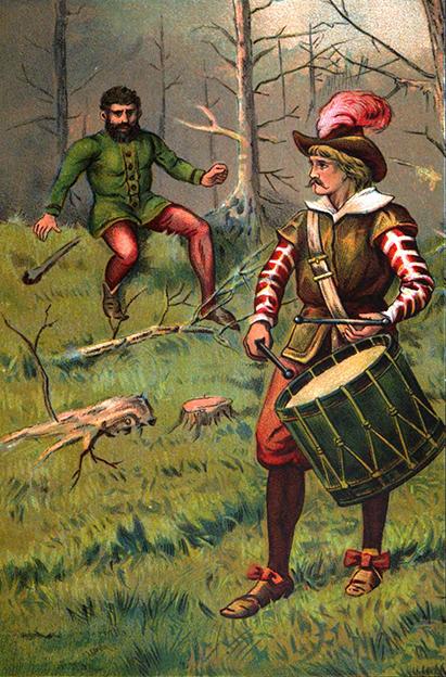 Illustration von Edward Wehnert zu dem Märchen Der Trommler von den Brüdern Grimm