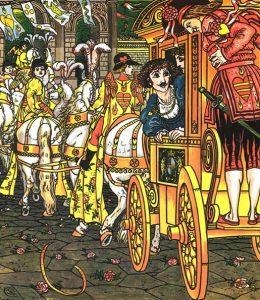 Froschkönig: Heinrich, der Wagen bricht. Illustration Walter Crane