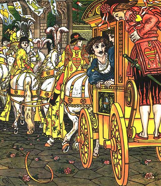 Illustration von Walter Crane zu dem Märchen Froschkönig oder der eiserne Heinrich