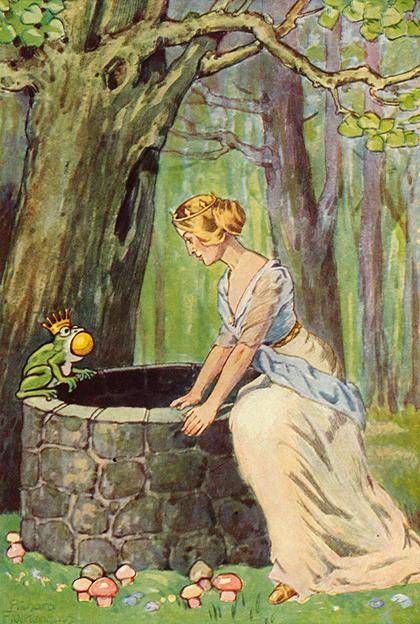 Illustration von Richard Flockenhaus zu dem Märchen Froschkönig oder eiserne Heinrich