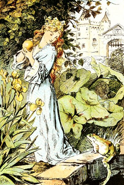 Illustration von Paul Meyerheim zu dem Märchen Froschkönig oder der eiserne Heinrich