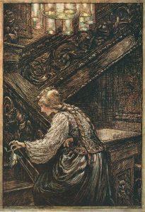 Froschkönig oder der eiserne Heinrich. Illustration Arthur Rackham