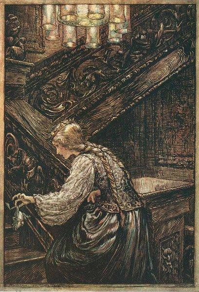 Illustration von Arthur Rackham zu dem Märchen Froschkönig oder der eiserne Heinrich