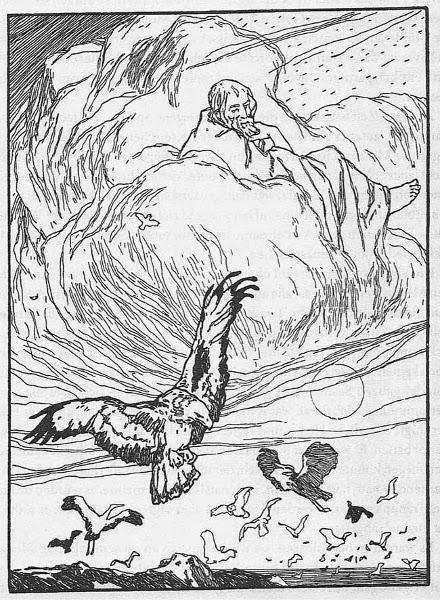 Illustration von Otto Ubbelohde zu dem Märchen Der Zaunkönig von den Brüdern Grimm