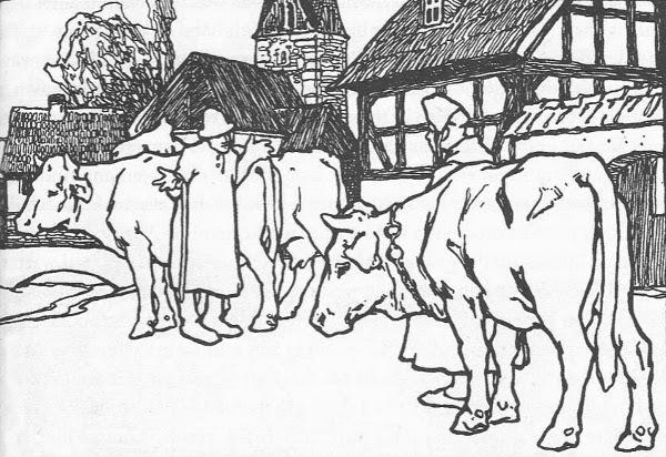 Illustration von Otto Ubbelohde zu dem Märchen Die klugen Leute von den Brüdern Grimm