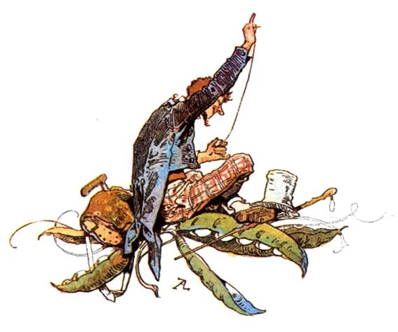 Illustration von Alexander Zick zu dem Märchen Strohhalm, Kohle und Bohne