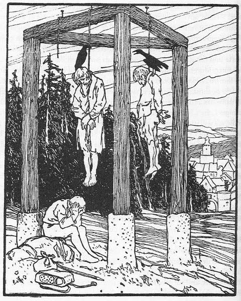 Illustration von Otto Ubbelohde zu dem Märchen Die beiden Wanderer