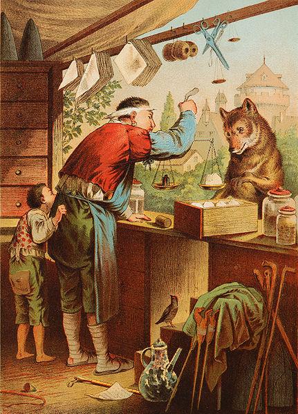 Illustration von Carl Offterdinger zu dem Märchen Der Wolf und die sieben Geißlein