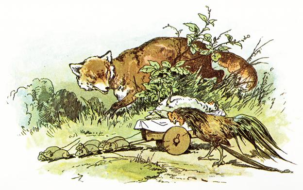 Illustration von Alexander Zick zu dem Märchen Von dem Tod des Hühnchens. Der Fuchs ist in diesem Märchen nicht so böse wie er aussieht.
