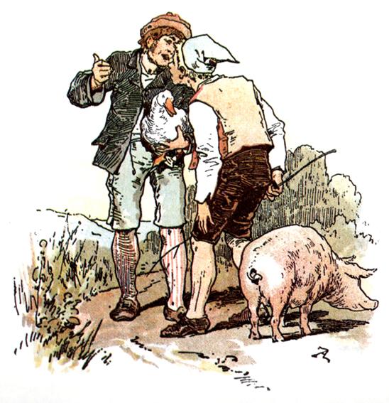 In dem Märchen Hans im Glück ist das Schwein ein Glückssymbol. Illustration Alexander Zick