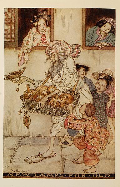 Tausche alte Lampen gegen neue. Illustration von Arthur Rackham zu Aladdin und die Wunderlampe