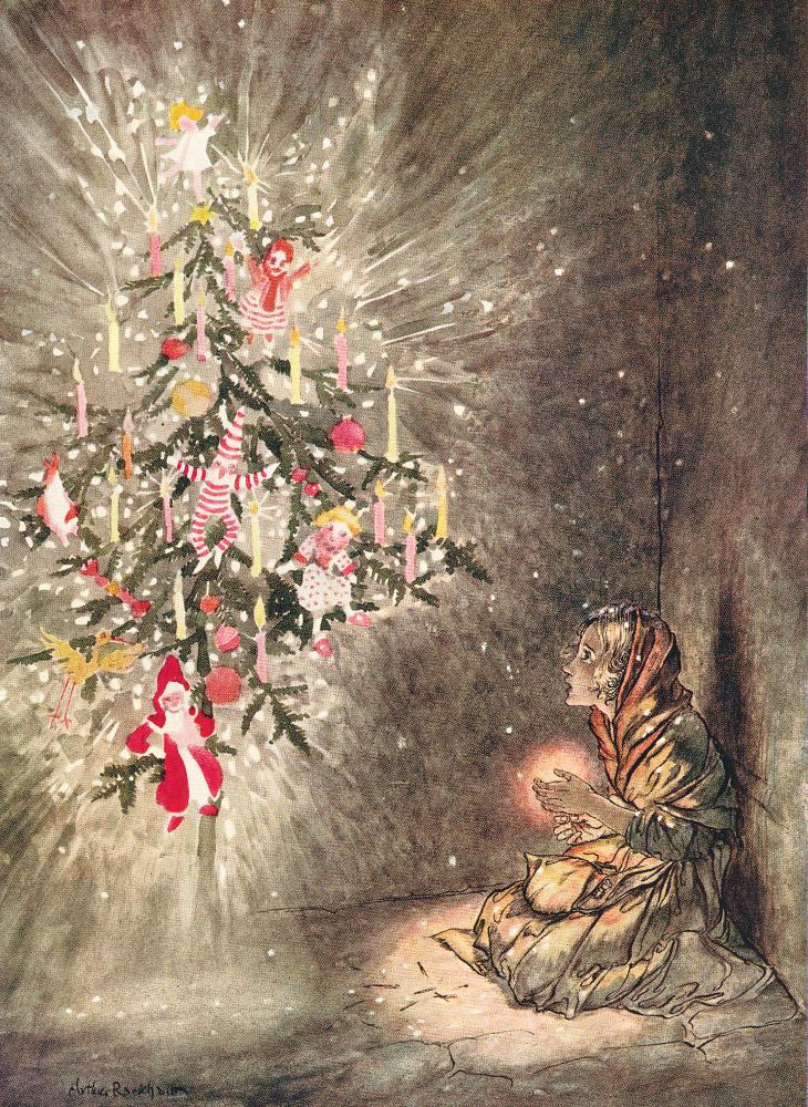 Das kleine Mädchen mit den Schwefelhölzchen. Illustration von Arthur Rackham