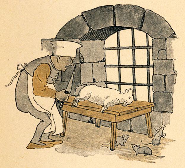 Illustration von Paula Ebner zu dem Märchen Das Lämmchen und Fischchen von den Brüdern Grimm