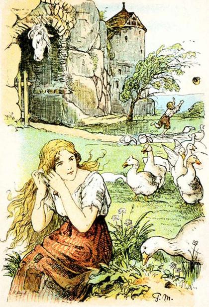 Die Gänsemagd kämmt ihr goldenes Haar, Illustration von Paul Meyerheim