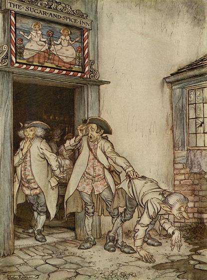 Illustraion von Arthur Rackham zu dem Märchen Die drei Feldscherer