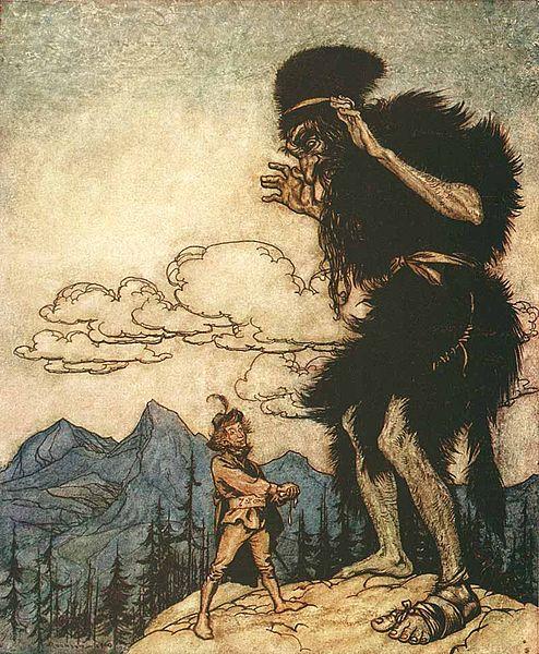 Das tapfere Schneiderlein trifft einen dummen Riesen, Illustration von Arthur Rackham