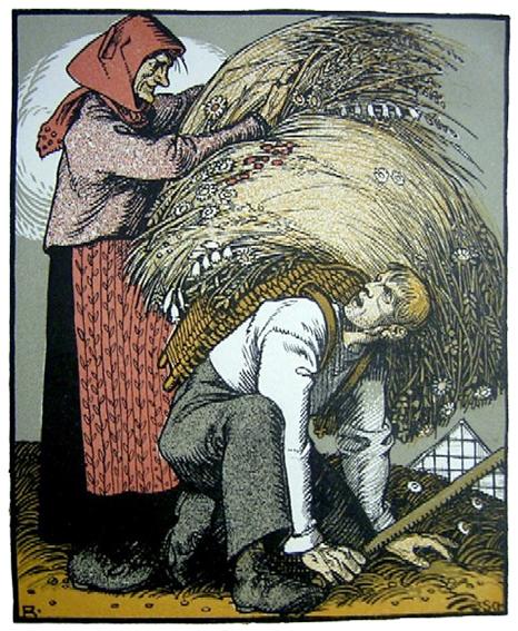 Illustration von Rudolf Schiestl zu dem Schwank Die hagere Liese