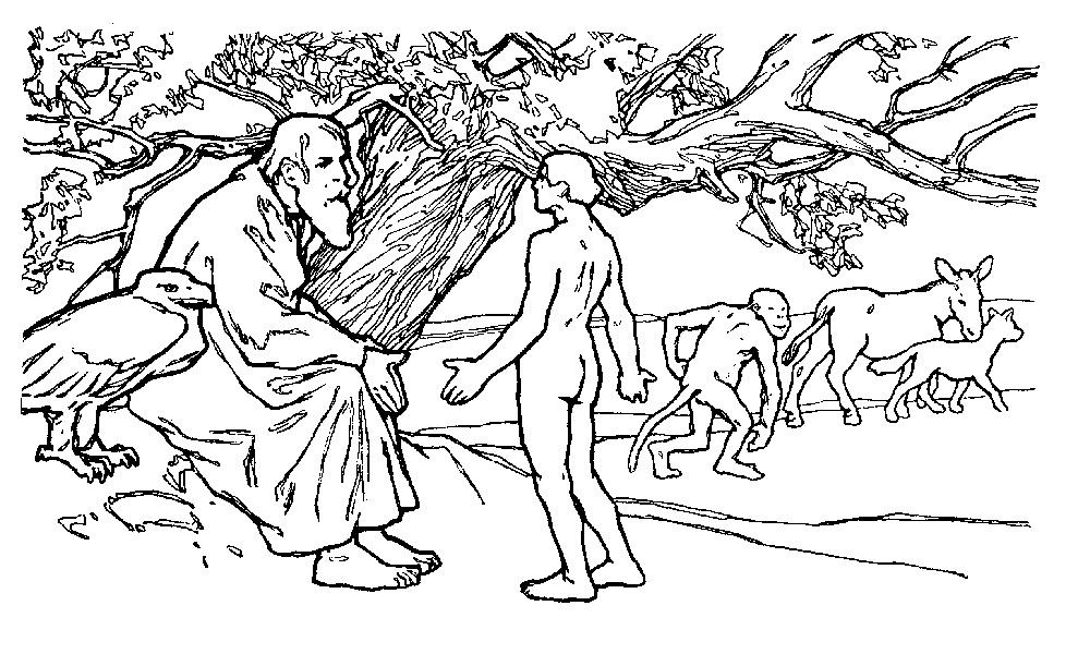 Illustration von Otto Ubbelohde zu dem Märchen Die Lebenszeit von den Brüdern Grimm