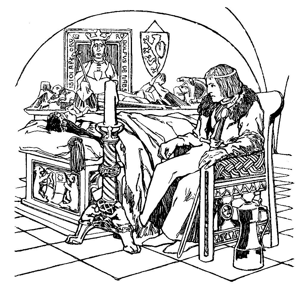 Illustration von Otto Ubbelohde zu dem Märchen Die drei Schlangenblätter von den Brüdern Grimm