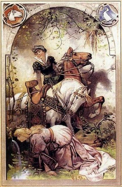 Die Königstochter wird zur Gänsemagd degradiert, Illustration von Hermann Vogel