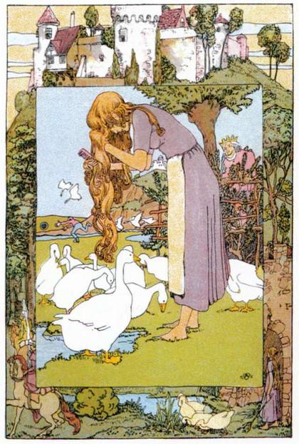 Der König beobachtet heimlich die Gänsemagd, Illustration Heinrich Vogeler