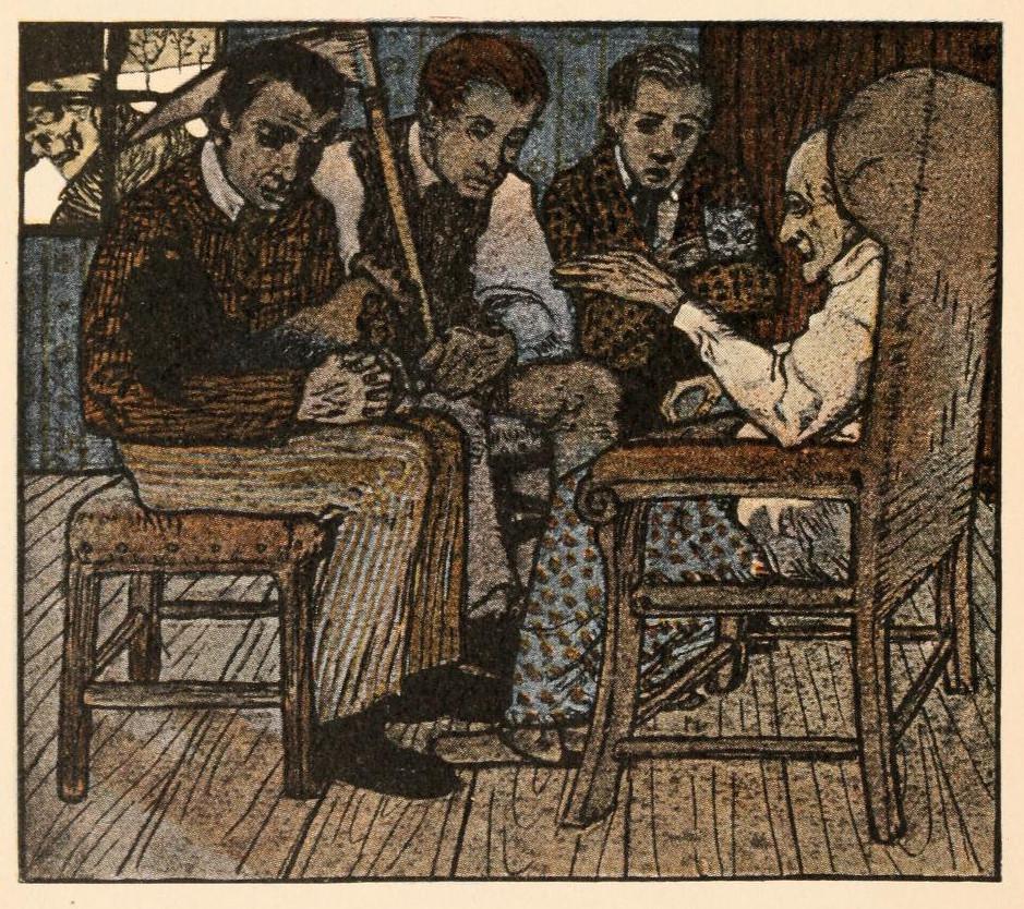 Illustration von Albert Weisgerber zu dem Märchen Die drei Glückskinder
