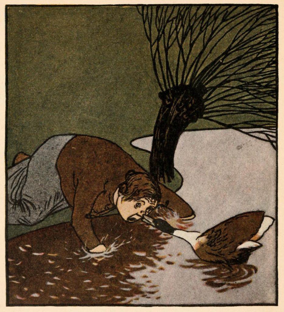 Illustration von Albert Weisgerber zu dem Märchen Fundevogel von den Brüdern Grimm