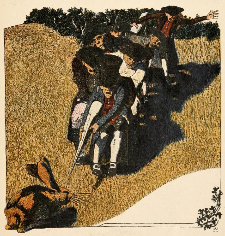 Illustration von Albert Weisgerber zu dem Märchen Die sieben Schwaben