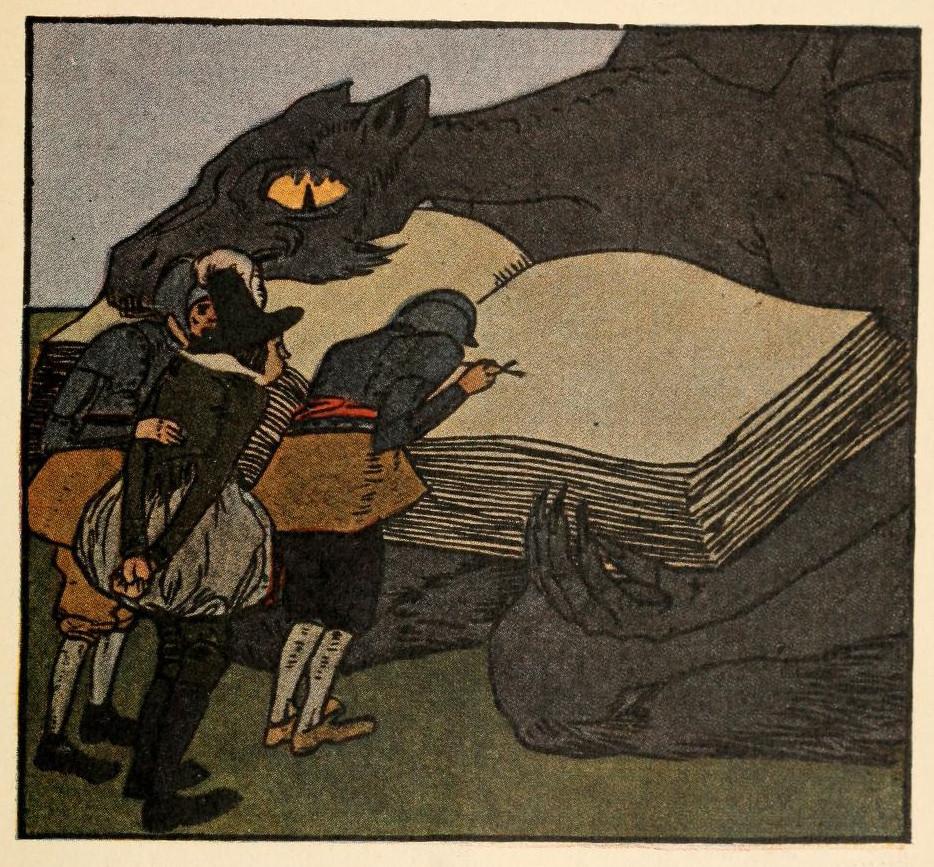 Illustration von Albert Weisgerber zu dem Märchen Der Teufel und seine Großmutter