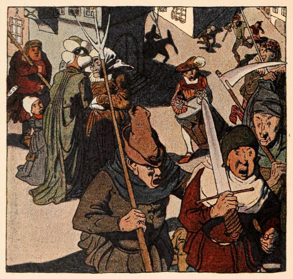 Illustration von Albert Weisgerber zu dem Märchen Die Eule von den Brüdern Grimm