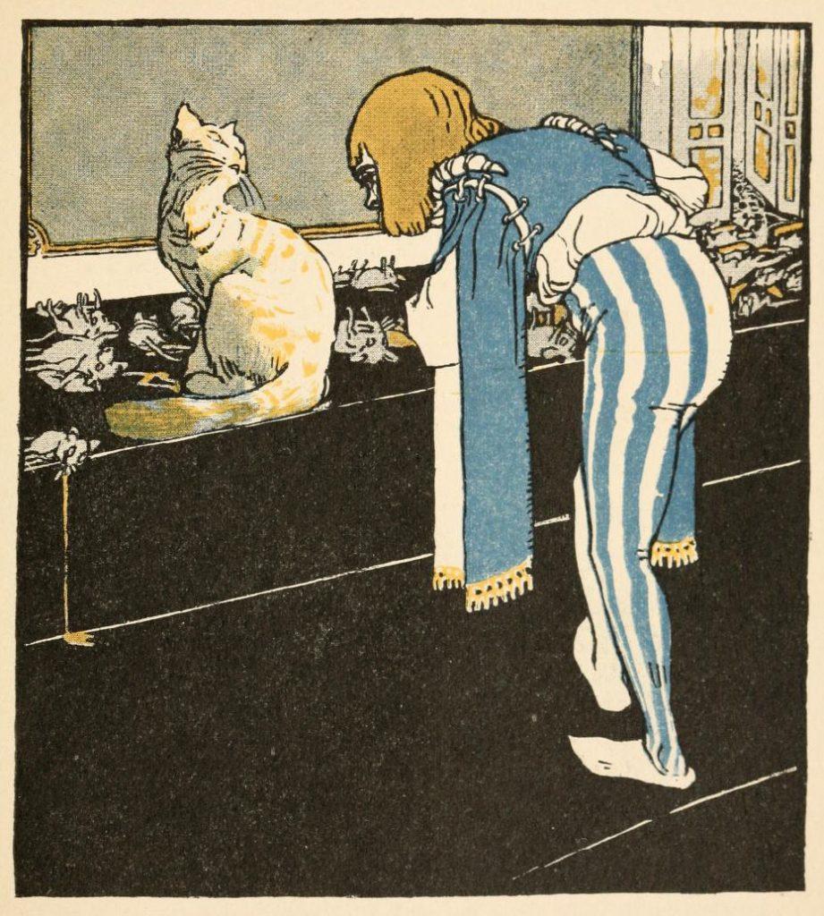 Die Katze hat im Schloss aufgeräumt. Illustration von Albert Weisgerber zu dem Märchen Die drei Glückskinde