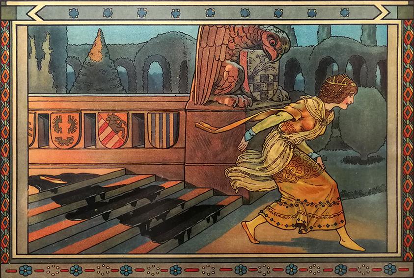 Aschenputtel verliert ihren Schuh, Illustration Hanns Anker