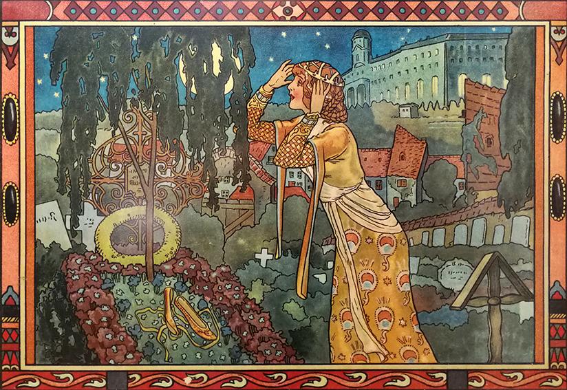 Aschenputtel bekommt am Grab ihrer Mutter ein Kleid für den Ball, Illustration Hanns Anker