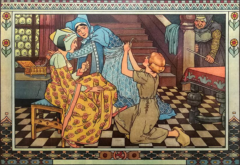 Aschenputtel hilft den Schwestern beim Ankleiden für den Ball, Illustration Hanns Anker