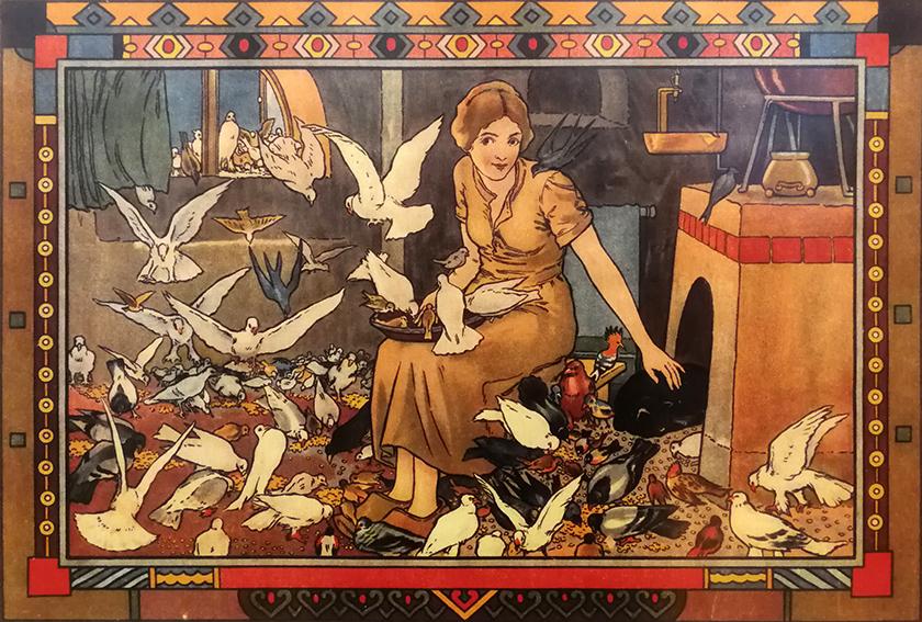 Aschenputtel mit Tauben, Illustration Hanns Anker