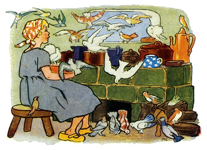 Aschenputtel am Herd mit den Tauben, Illustration Gertrud Caspari