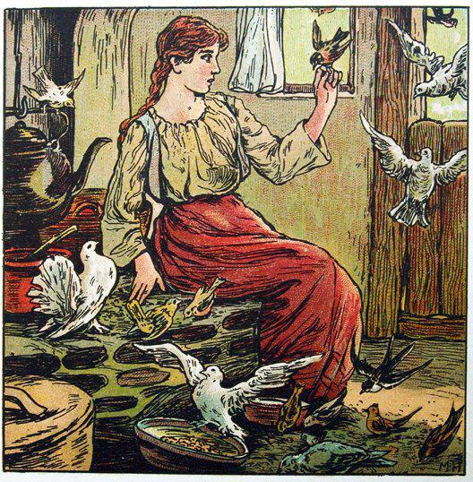 Tauben helfen Aschenputtel beim Linsen auslesen, Illustration Maria Hohneck