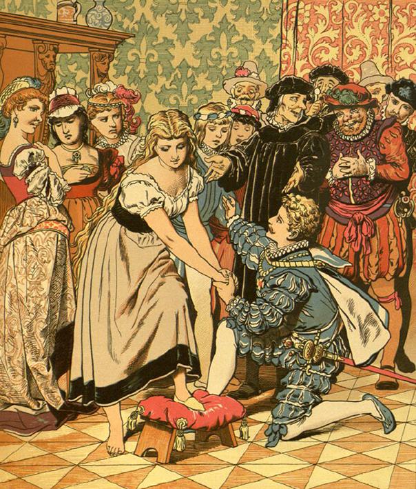 Aschenbrödel bei der Schuhprobe, Illustration Eugen Klimsch