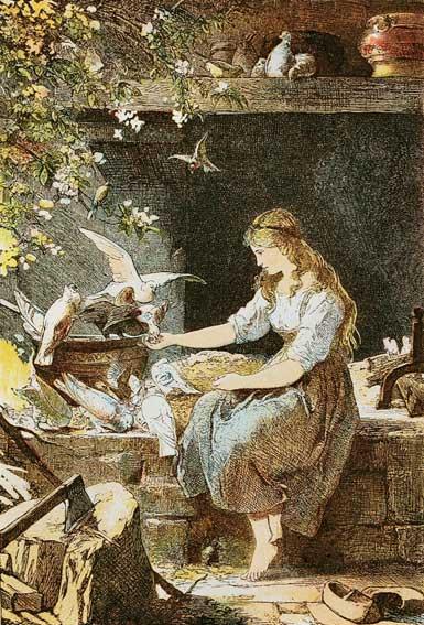 Aschenputtel mit den Tauben, Illustration Paul Meyerheim