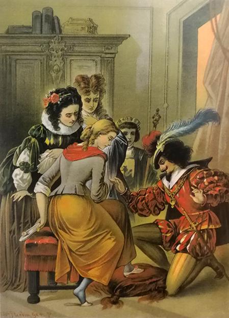 Aschenputtel probiert den Schuh an, Illustration Carl Offterdinger