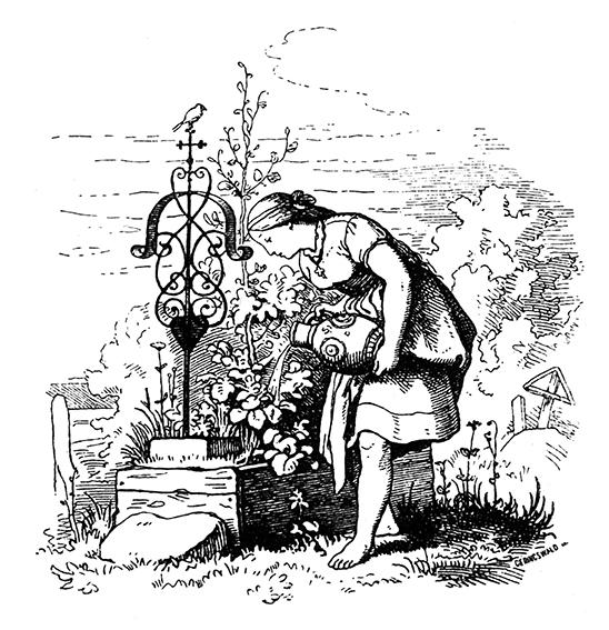 Aschenbrödel am Grab ihrer Mutter, Illustration von Ludwig Richter