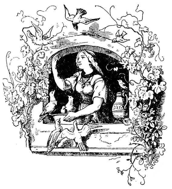 Aschenbrödel mit den den Tauben. Illustration von Ludwig Richter