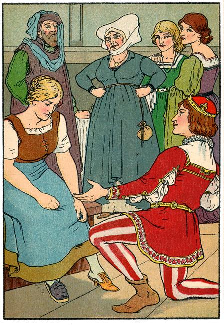 Aschenputtel passt der Schuh, Illustration Georg Albert Stroedel