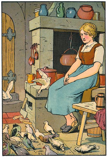 Aschenputtel in der Küche mit Tauben, Illustration Georg Albert Stroedel