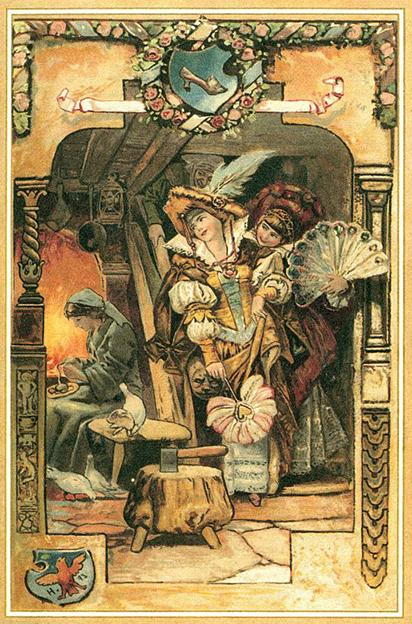 Aschenputtel muss Linsen auslesen, während ihre Schwestern auf den Ball gehen. Illustration Hermann Vogel