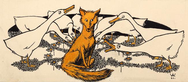 Illustration von Albert Weisgerber zu dem Märchen Der Fuchs und die Gänse